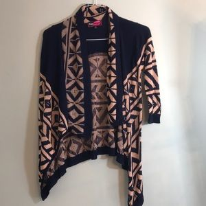 Pink and navy open sweater